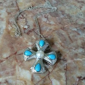 Sterling turquoise pearl cross pendant necklace